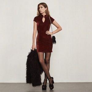 Reformation Sonja burgundy dress velvet keyhole